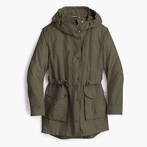 JCrew Perfect Rain Jacket in Dark Moss
